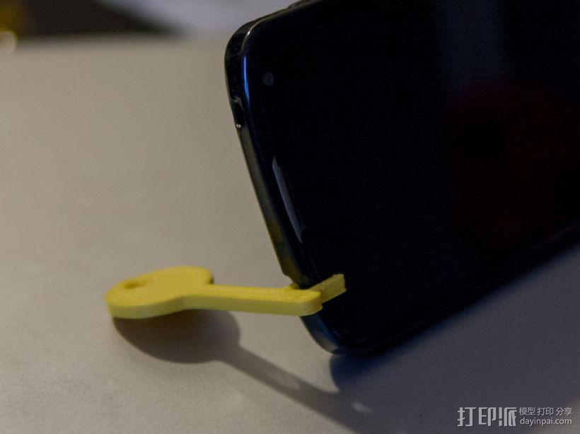 钥匙形状 手机支架 3D模型  图1
