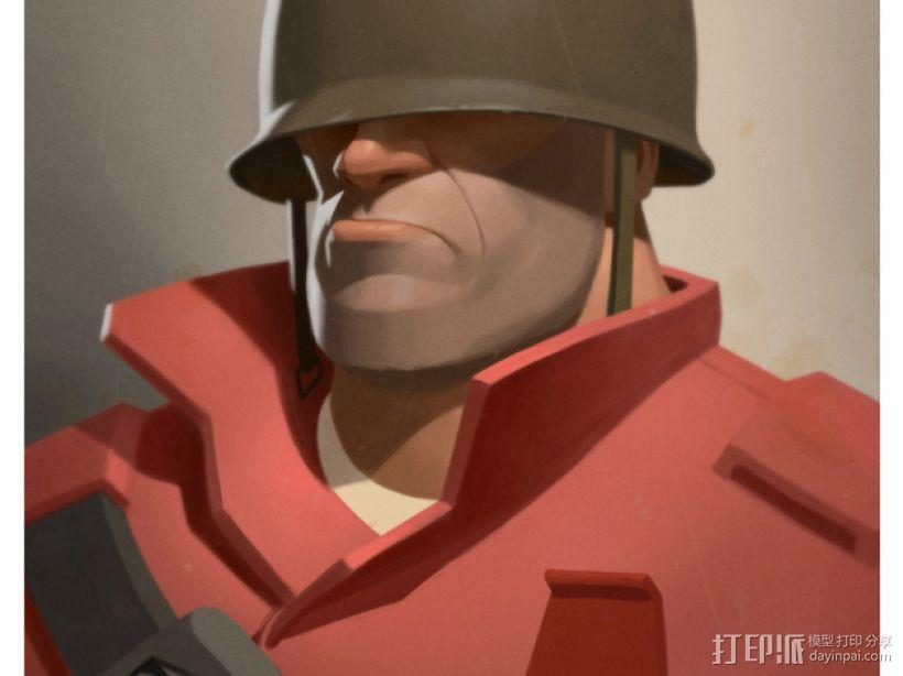 士兵头像 3D模型  图1