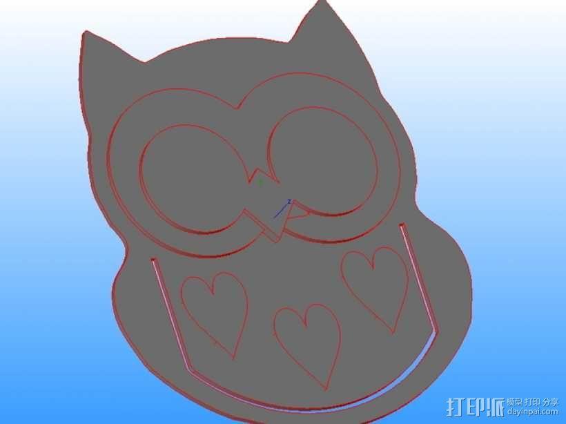 猫头鹰摆件 3D模型  图1