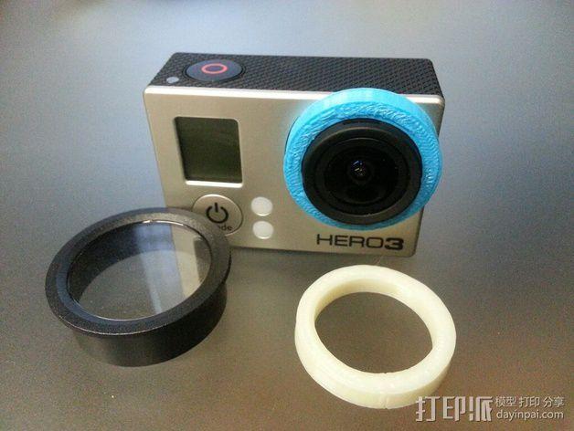 Gopro 3镜头盖 3D模型  图3