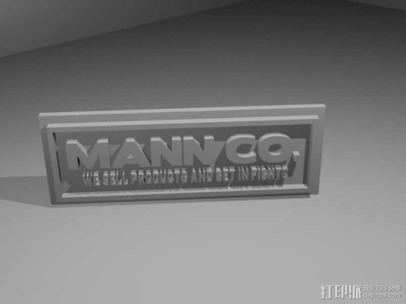 Mann Co. 标志板 3D模型  图1