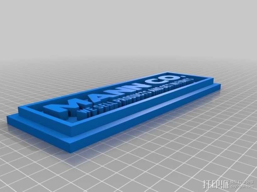 Mann Co. 标志板 3D模型  图2