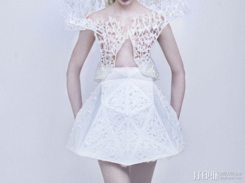 鬃丝连衣裙 3D模型  图2