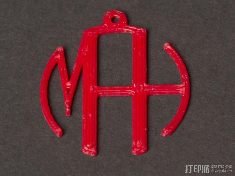 字母吊坠 3D模型  图2