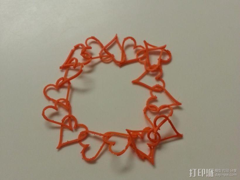 心形锁项链 手镯 3D模型  图2