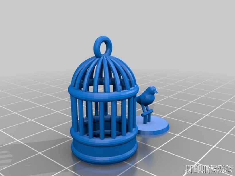 笼中鸟 吊坠 3D模型  图3