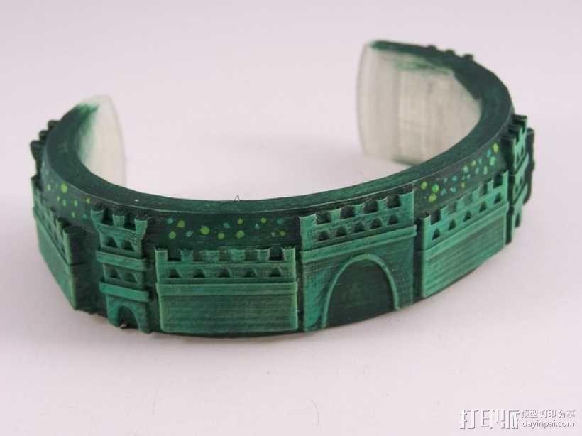 城堡图案手镯 3D模型  图1
