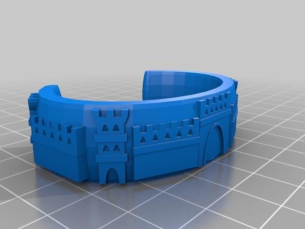 城堡图案手镯 3D模型  图2