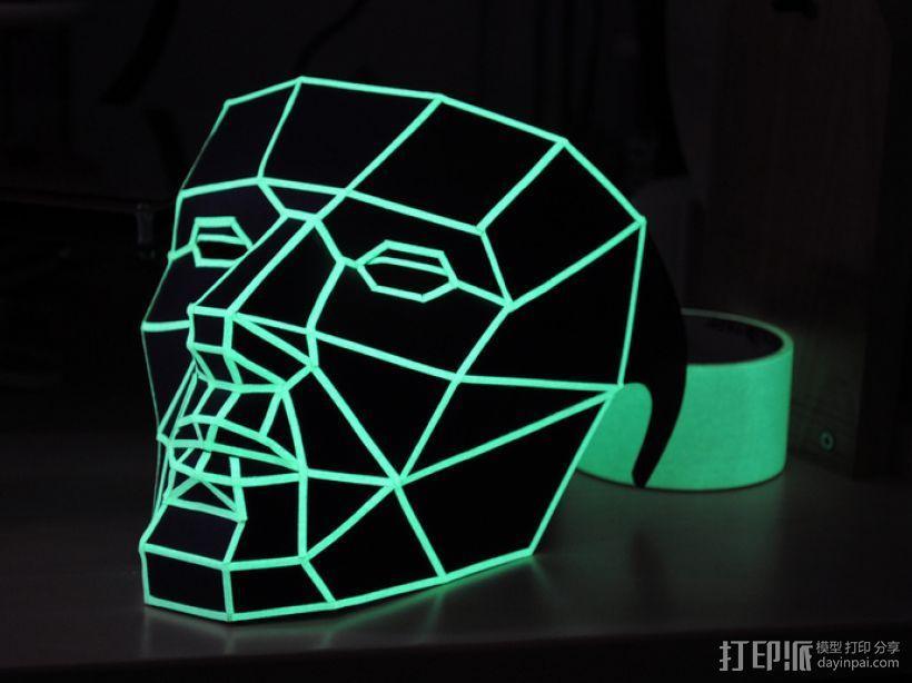 低面数多边形面罩 3D模型  图4