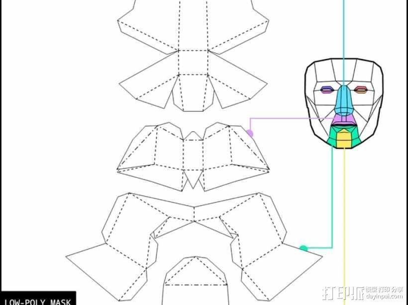低面数多边形面罩 3D模型  图10