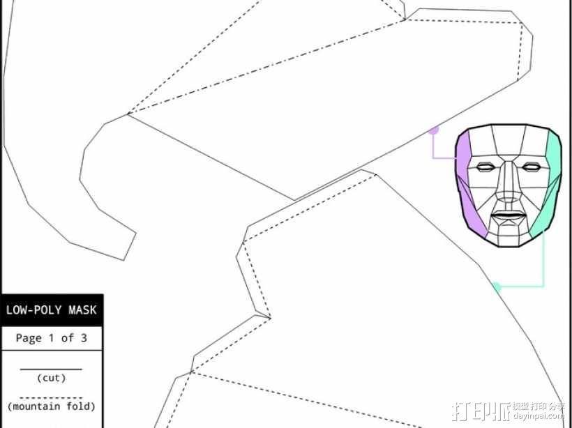 低面数多边形面罩 3D模型  图8