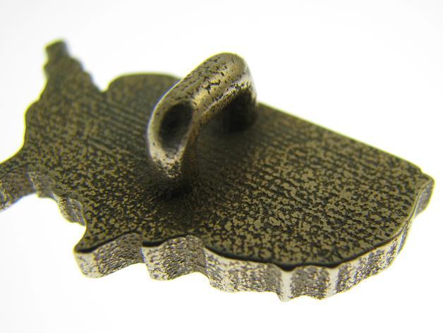 美国国土形吊坠/耳环 3D模型  图3