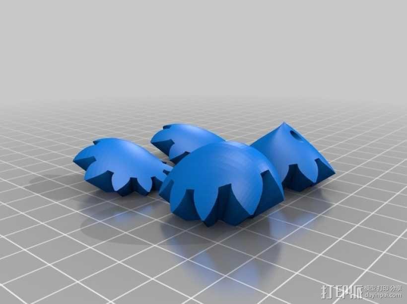 迷你心形齿轮钥匙扣 3D模型  图5
