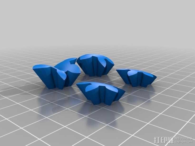 迷你心形齿轮钥匙扣 3D模型  图6