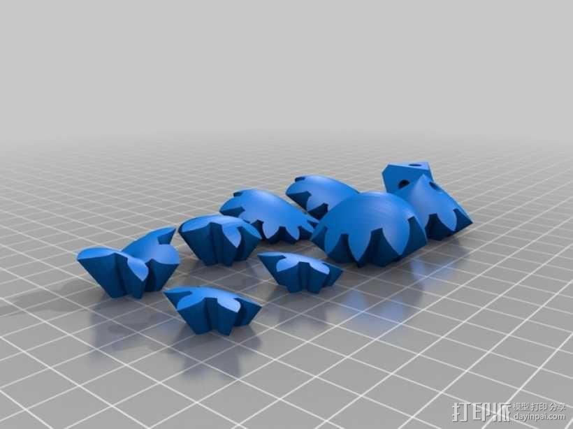 迷你心形齿轮钥匙扣 3D模型  图8