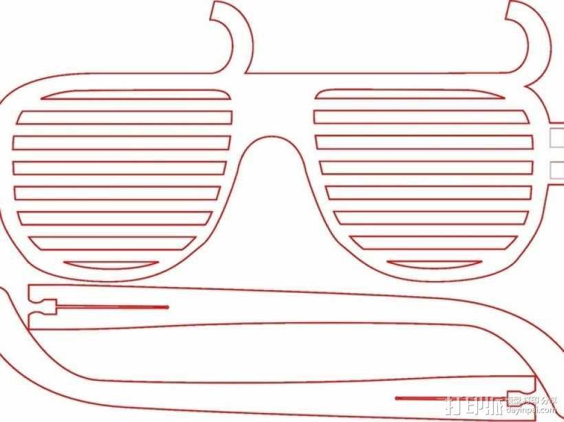个性化百叶窗眼镜 3D模型  图1