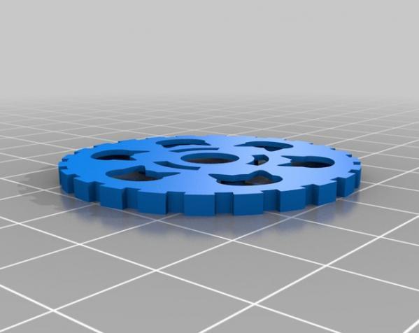 猫形齿轮钥匙扣装饰品 3D模型  图4