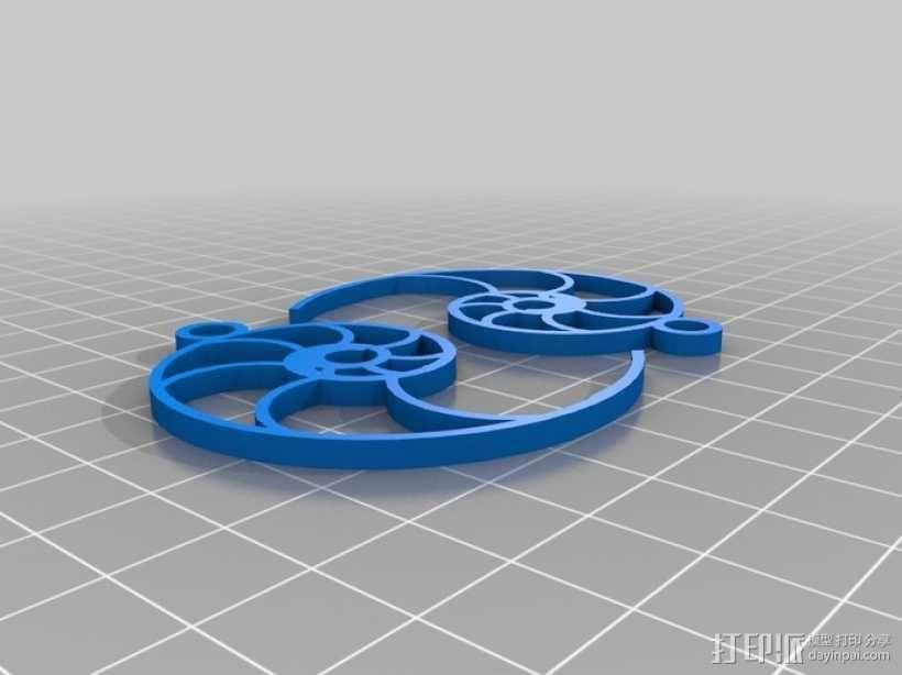 鹦鹉螺形耳环 3D模型  图1