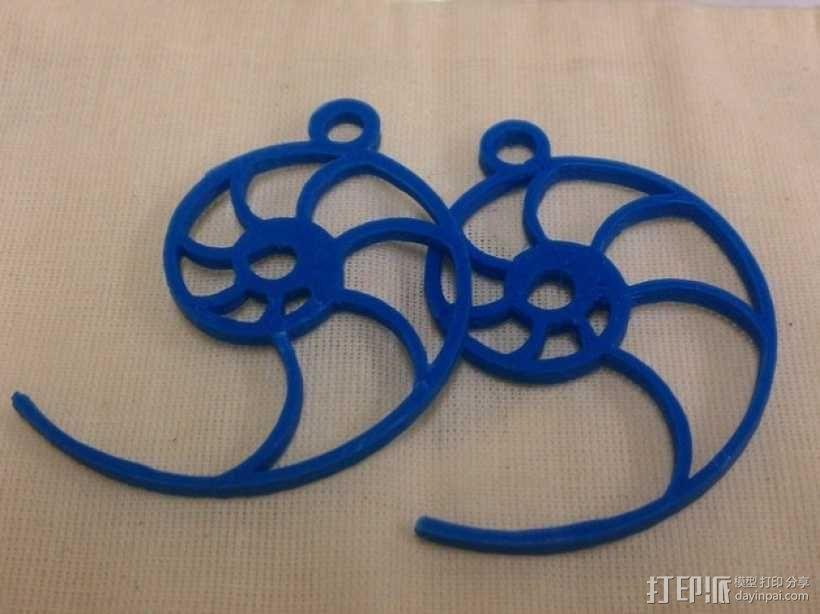 鹦鹉螺形耳环 3D模型  图2