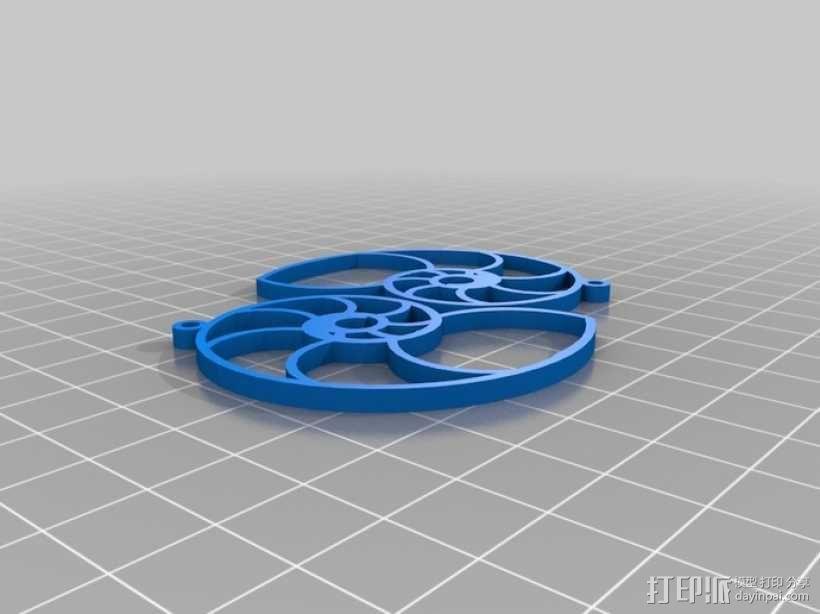 鹦鹉螺形耳环 3D模型  图3