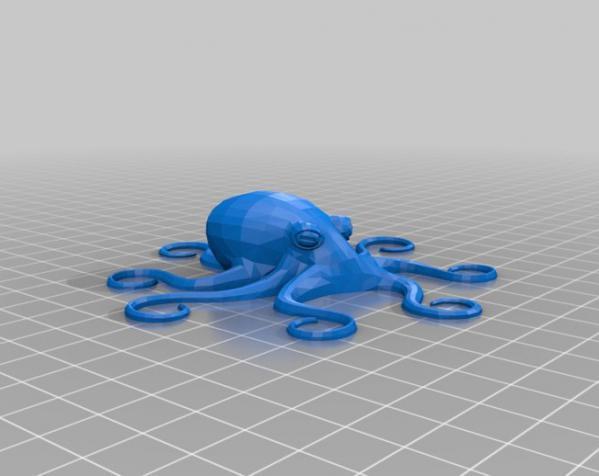 章鱼形圆髻发型发饰装饰品 3D模型  图2