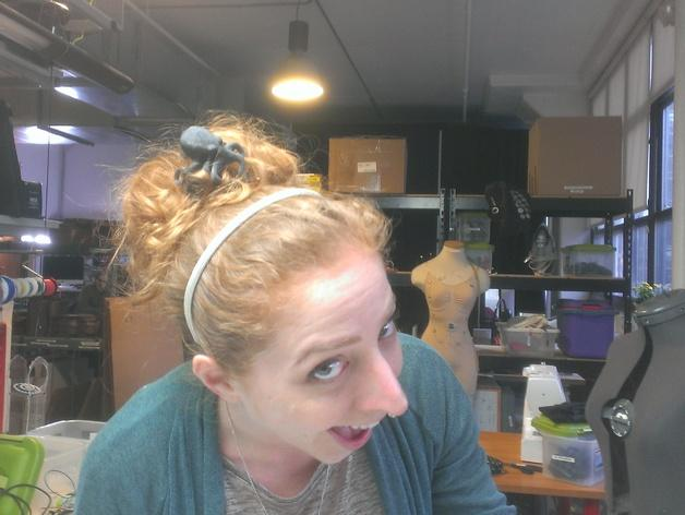 章鱼形圆髻发型发饰装饰品 3D模型  图3