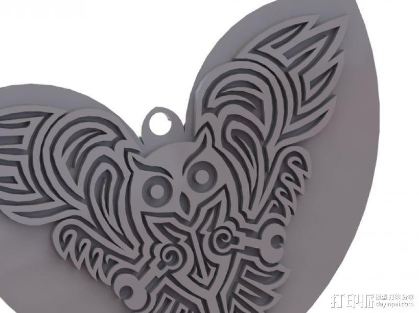 猫头鹰形吊坠/钥匙扣/耳环 3D模型  图1