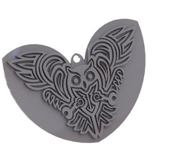 猫头鹰形吊坠/钥匙扣/耳环 3D模型  图3