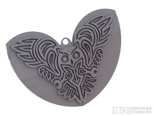 猫头鹰形吊坠/钥匙扣/耳环 3D模型  图4
