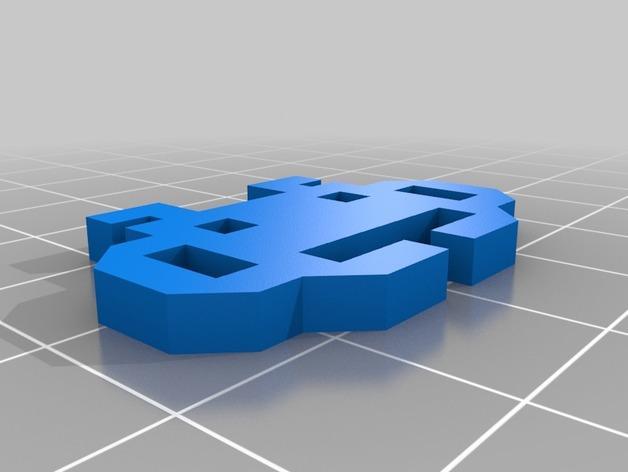 太空入侵者鞋带固定装置 3D模型  图2