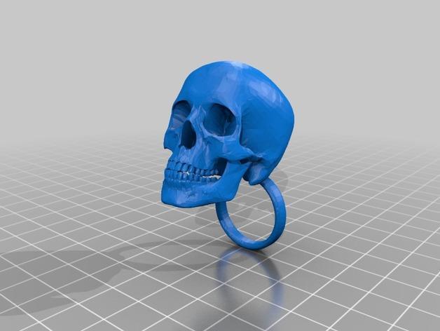 会发光的骷髅戒指 3D模型  图2
