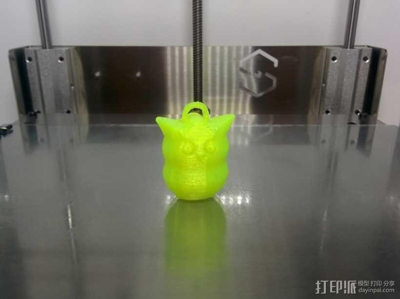 猫头鹰钥匙扣 3D模型  图1