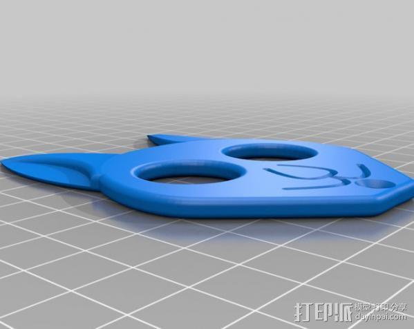 猫形钥匙扣 3D模型  图1
