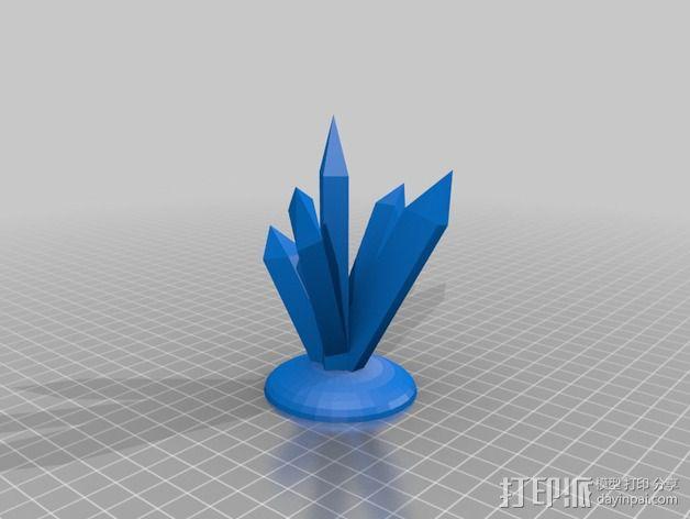 水晶形戒指架 3D模型  图2