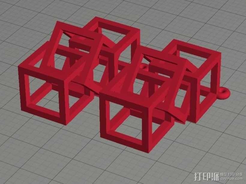 方形镂空耳环 3D模型  图2