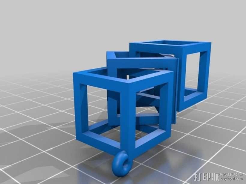 方形镂空耳环 3D模型  图3