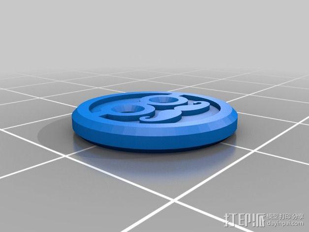 """""""胡子先生""""纽扣 3D模型  图2"""