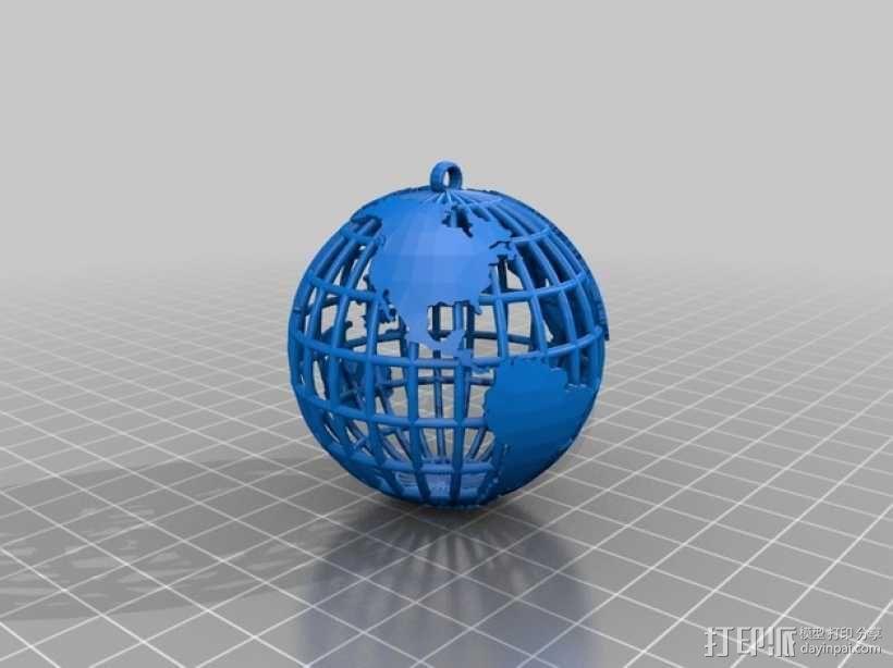 地球吊坠 3D模型  图2