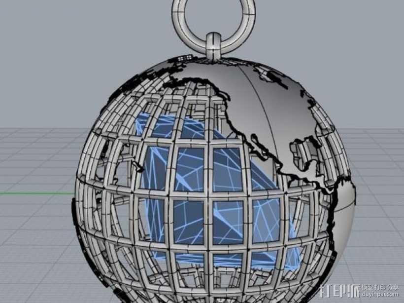 地球吊坠 3D模型  图3