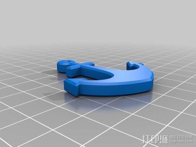 船锚形钥匙扣 3D模型  图2