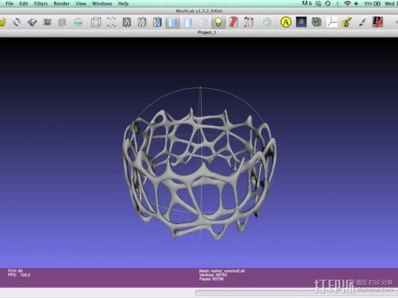 多边形镂空手镯 3D模型  图3