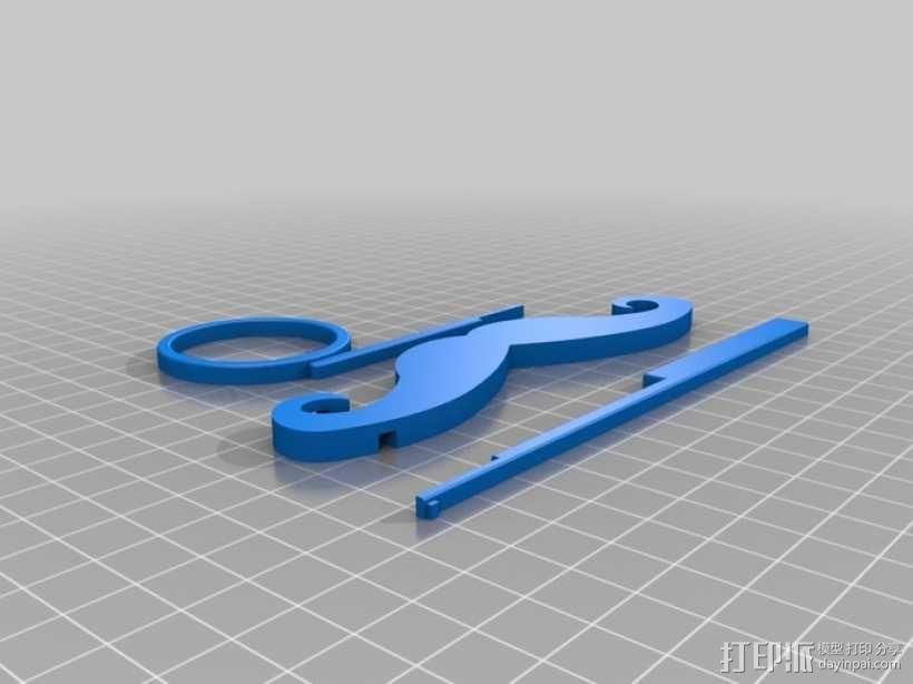 小胡子/单片眼镜 3D模型  图4