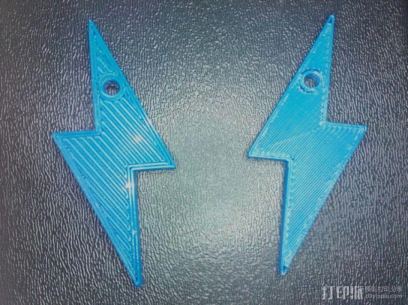 闪电耳环/钥匙扣 3D模型  图1