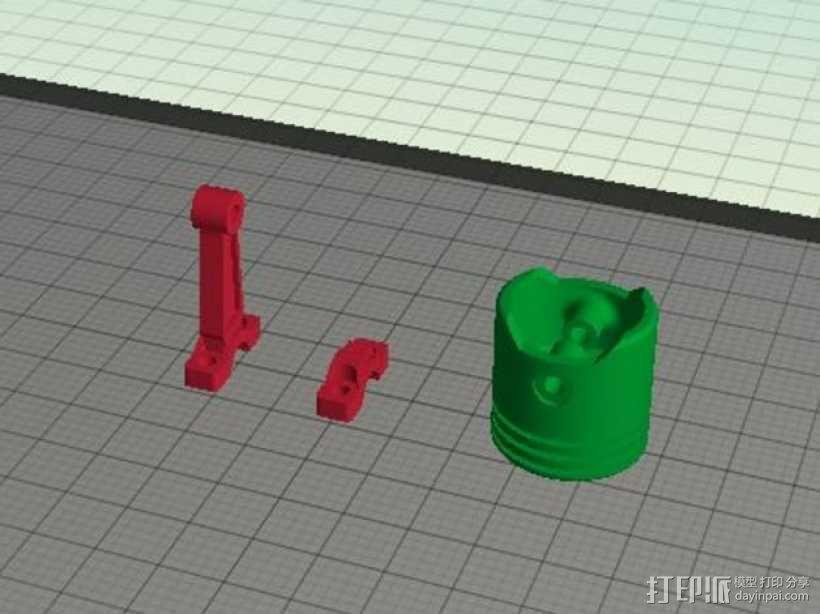 连杆活塞钥匙扣 3D模型  图3