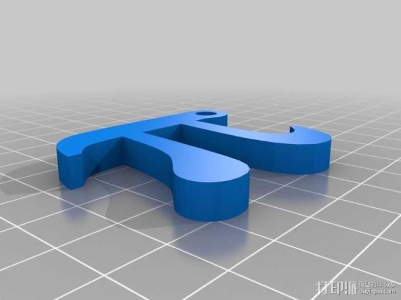 圆周率π钥匙扣/背包装饰品 3D模型  图1