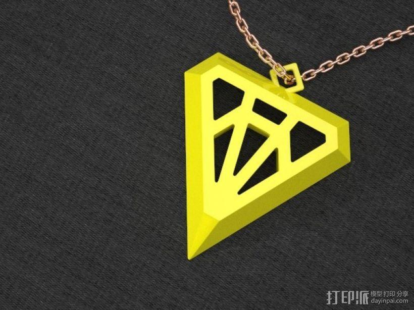 钻石形吊坠 3D模型  图1