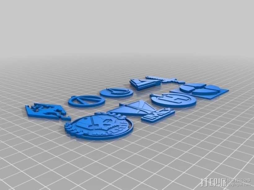 电子游戏LOGO钥匙扣 3D模型  图1