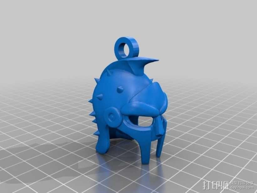 角斗士头盔 钥匙扣 吊坠 3D模型  图1