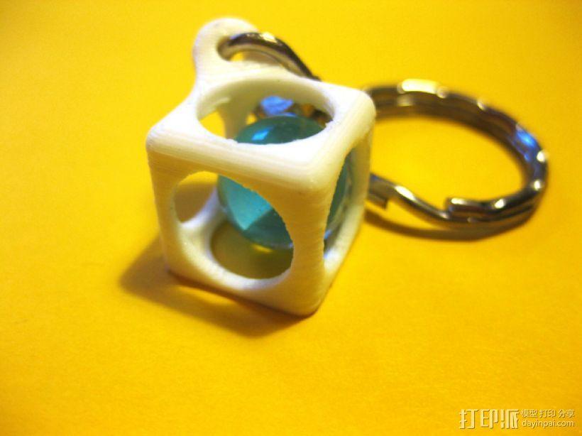 方盒玻璃球 钥匙扣 3D模型  图1