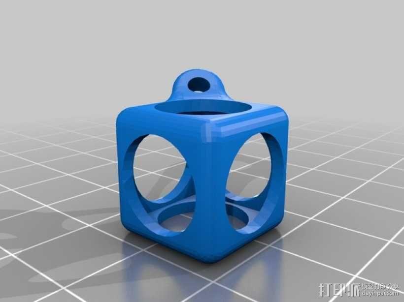 方盒玻璃球 钥匙扣 3D模型  图2